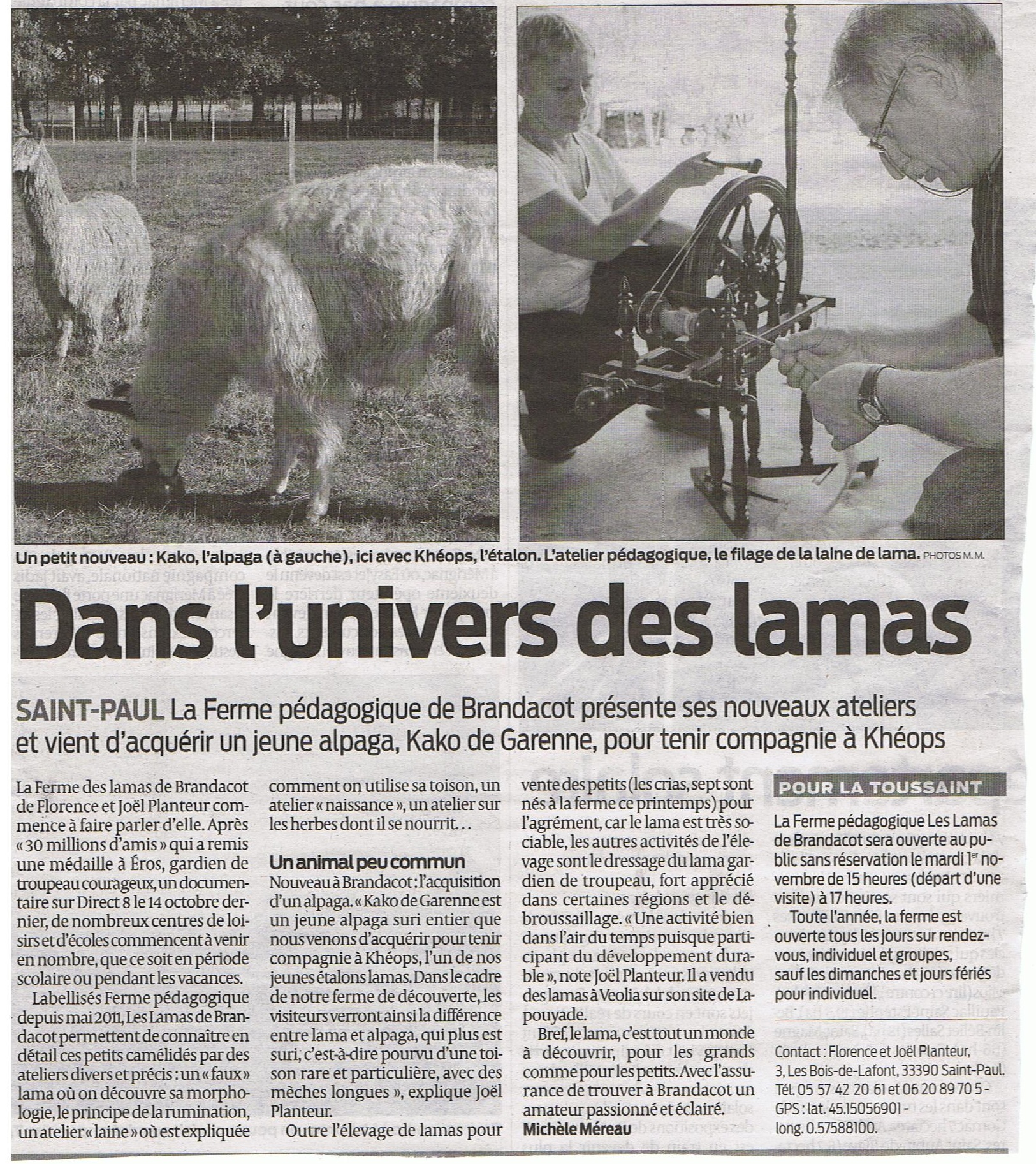 Article Sud Ouest 29/10/2011